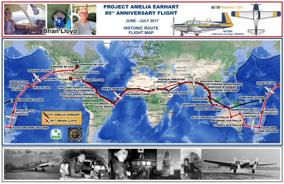 Map of Project Amelia Earhart 80th Anniversary Flight by Brian Lloyd