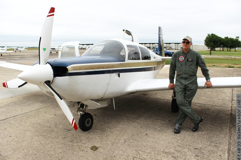Brian Lloyd pauses prior to flight of airplane Spirit 21 MAY 2017 in Spring Branch Texas USA - Photo Credit: Josh Flowers CC-BY 2.0