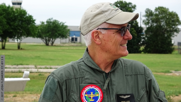 Brian Lloyd prior to flight of airplane Spirit 21 MAY 2017 in Spring Branch Texas USA