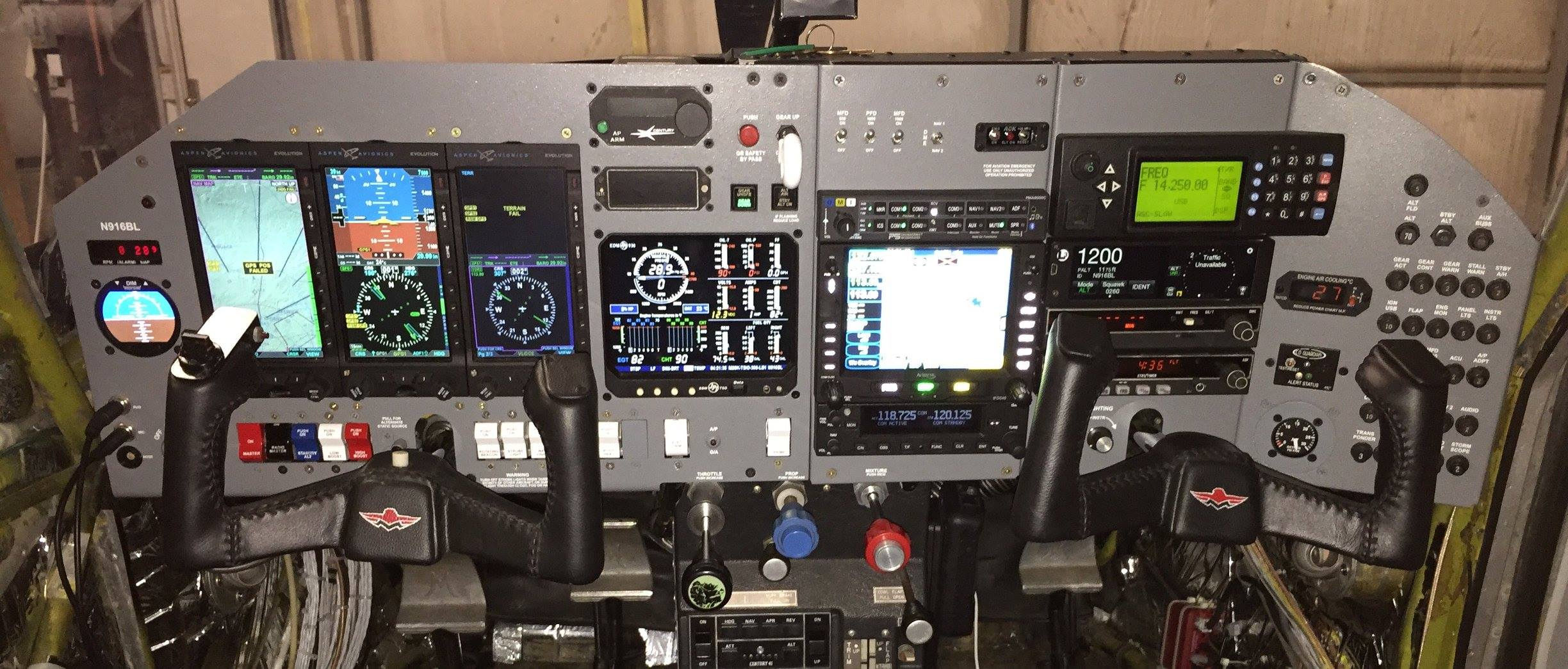 Recently completed upgrades to the airplane Spirit includes improved avionics shown in this photo May 2017