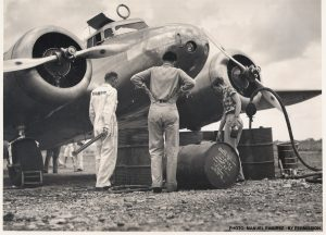 Amelia Earhart fueling her Lockheed Electra in June 1937 at the Caripito Venezuela airport