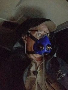 Brian Lloyd becomes Dark Sith Lord with oxygen mask at 23000ft in flight during night over the Saudi desert13Jun2017 photo by Brian Lloyd