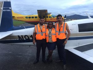 Brian Lloyd's aircraft Spirit with ground crew at airport in Trinidad 2JUN2017
