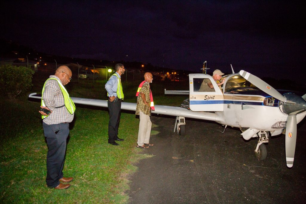 Brian Lloyd with his aircraft Spirit greeted by ground crew on arrival at Canefield Airport Dominica on 1 June 2017. (CC0-1.0)