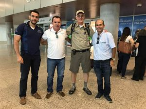 Brian Lloyd is joined by friends at airport Natal Brazil 7Jun2017 photo by Almir Rêgo