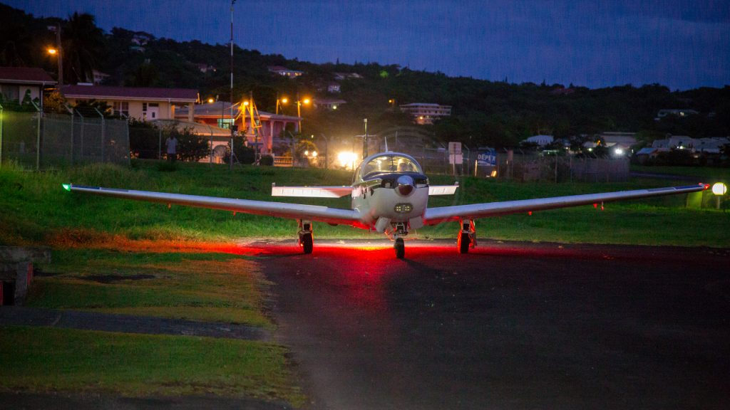 Brian Lloyd parks his airplane Spirit on the tarmac shortly after arrival at Canefield Airport, Dominica, on 1 June 2017. (CC0-1.0)