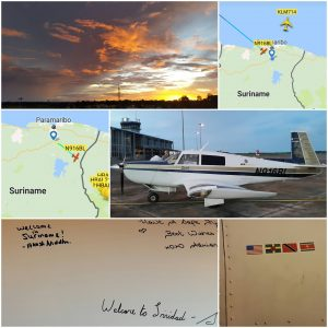 Brian Lloyd with Spirit and signatures on plane at Paramaribo Suriname 4JUN2017. photo collage by Akash Niddha
