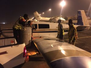 Fueling Spirit with avgas at night on the ramp at Khartoum airport 12Jun2017 photo by Brian Lloyd