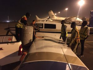 Fueling Spirit with avgas in night on ramp at Khartoum airport 12Jun2017 photo by Brian Lloyd
