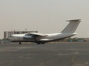 Ilyushin Il-76 Candid on the ramp at Khartoum airport ramp on 13Jun2017 photo by Brian Lloyd