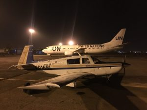 Spirit on the ramp at Khartoum airport at night on 12Jun2017 photo by Brian Lloyd
