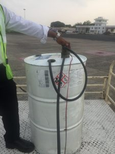 Using electric pump for Spirit avgas at Kolkata airport India 17Jun2017 photo ©2017 Brian Lloyd CC-BY 2.0
