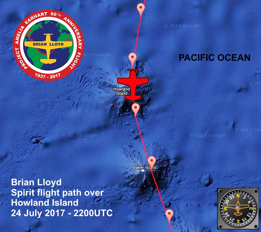 Tracker map of the flight path of Brian Lloyd's aircraft Spirit over Howland Island on 24 July 2017 at 2200UTC