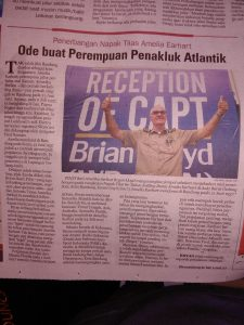 Brian Lloyd in Indonesia newspaper: Tribute to Conqueror of Atlantic Flight Traces Amelia Earhart 29 June 2017 photo ©2017 Tatang Lakturo CC-BY 2.0