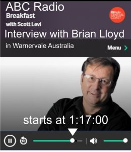 Brian Lloyd interview on ABC Radio Central Coast - Warnervale Australia - Show: Breakfast with Scott Levi 6July2017 - Interview starts at 1:17:00