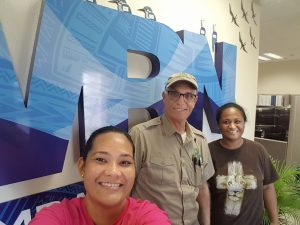 Brian Lloyd with Elinor Lutu-McMoore (left) and Jane Taifane (right) at National Weather Service office at Pago Pago American Samoa on 23 July 2017 photo ©2017 Elinor Lutu-McMoore CC-BY 2.0