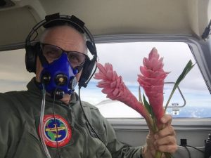 Flowers dropped as tribute to Amelia Earhart and Fred Noonan over ocean at Howland Island from the aircraft Spirit photo by Brian Lloyd 24July2017 2155UTC ©2017 Brian Lloyd CC-BY 2.0