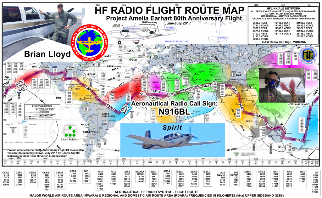 HF Radio Flight Route Map for Brian Lloyd aircraft N916BL Spirit for the 2017 flight retracing the Amelia Earhart route