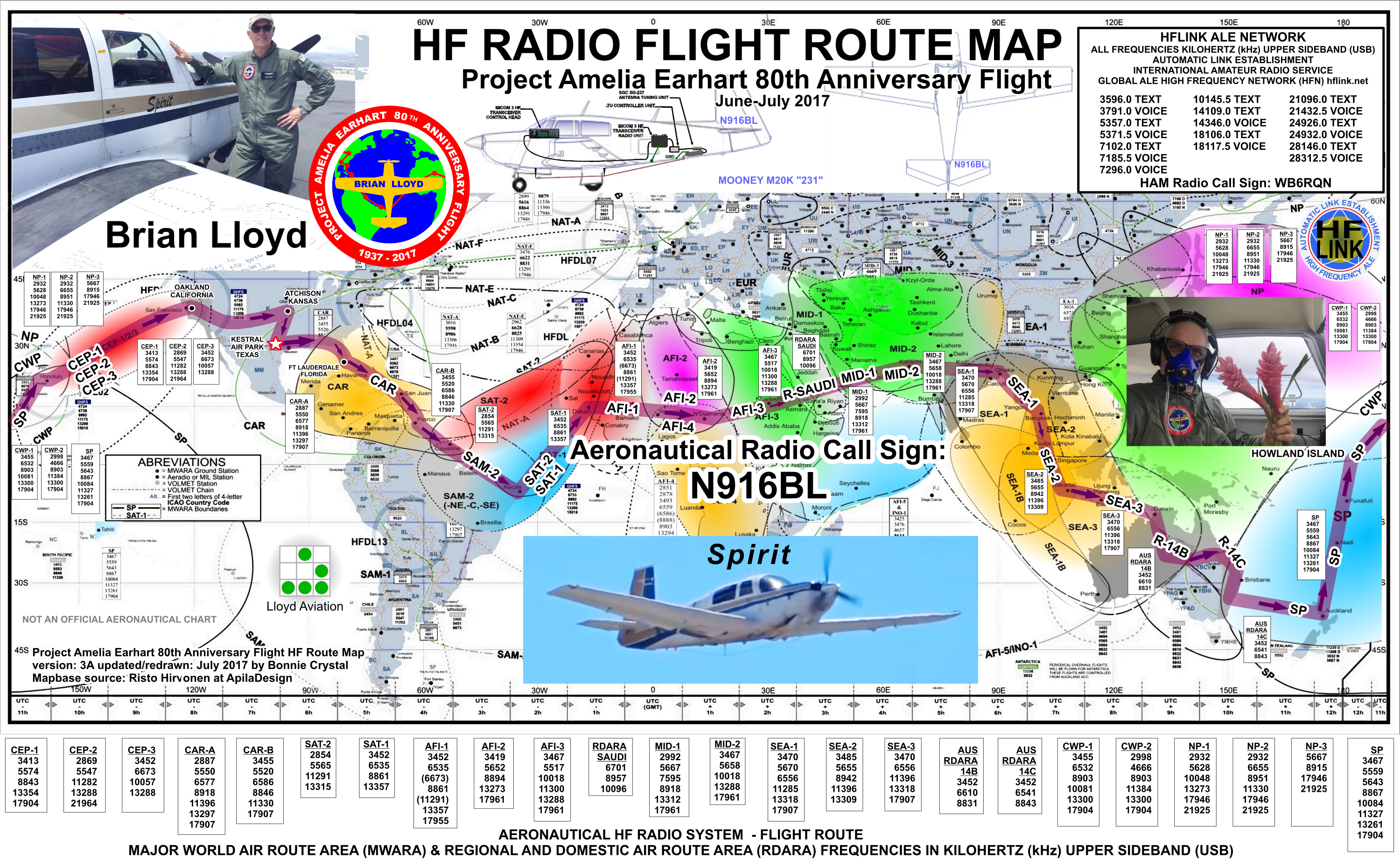 Aeronautical project amelia earhart hf radio flight route map for brian lloyd aircraft n916bl spirit for the 2017 flight retracing gumiabroncs Images