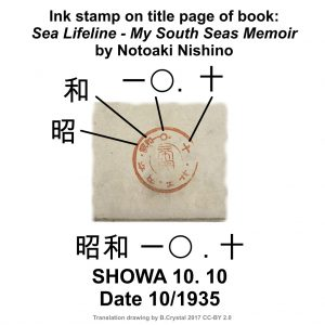 "Ink stamp from the title page of ""Sea Lifeline - My South Seas Memoir"" by Notoaki Nishino published in 1935. Translation drawing: ©2017 B. Crystal CC-BY 2.0"