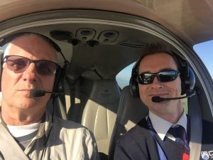Michael Kirchhain of CTC with Brian Lloyd in Diamond DA42 over Raglan New Zealand photo 11 July 2017 by Brian Lloyd CC BY