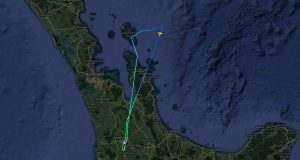 Flight path of Spirit on 15 July 2017 when fuel flow problem caused Brian Lloyd to turn back to Hamilton New Zealand