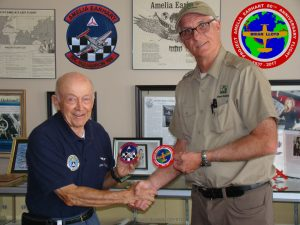 Brian Lloyd exchanges flight patches with Juan Tinnirello of Civil Air Patrol Amelia Earhart Sr Squadron 188 Oakland California 31July2017 photo ©2017 Bonnie Crystal