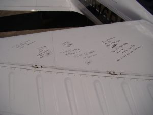 Signatures on Brian Lloyd's aircraft Spirit at Oakland airport on 31 July signed during the Project Amelia Earhart 80th Anniversary Flight in June-July 2017 photo ©2017 Bonnie Crystal